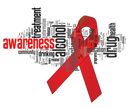 substances: Substance abuse awareness ribbon with related keywords Illustration