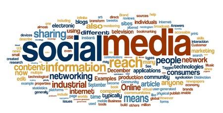 medios de comunicacion: Colecci�n de medios de comunicaci�n social y las redes relacionadas con palabras para proyectos de dise�o.