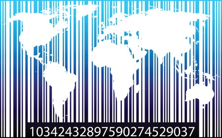 World map inside of a bar code imitation Stock Vector - 8252902
