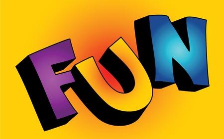 vibrant colors fun: Cartone animato 3D colorate testo FUN su sfondo colorato Vettoriali
