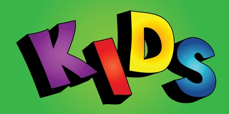 Colorful 3D cartoon text KIDS on colorful background Vector