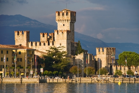 sirmione: Scaliger Castle (13th century) in Sirmione by lake Garda, Italy