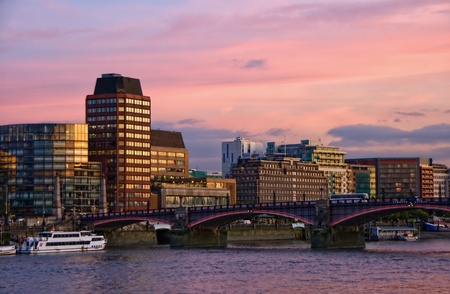Sunset over Lambeth bridge and river Thames with illuminated skyline in background, London, England Stock Photo - 8468039