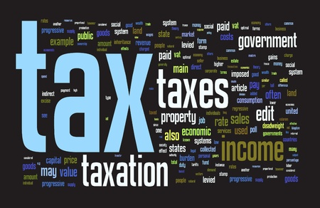 legal services: Taxes and taxation themed word cloud on the black background Stock Photo