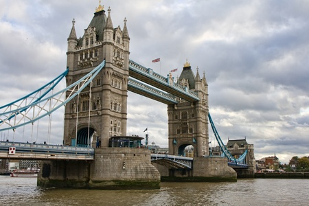 english famous: Londons Tower Bridge in England on a cloudy day Stock Photo