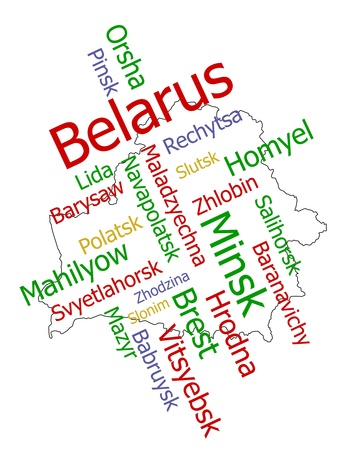 Belarus map and words cloud with larger cities Stock Vector - 8738345