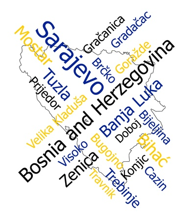 Bosnia and Herzegovina map and words cloud with larger cities Vector