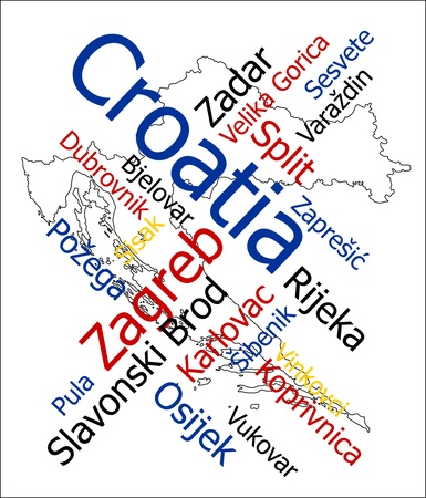 european cities: Croatia map and words cloud with larger cities