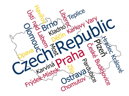 european cities: Czech map and words cloud with larger cities Illustration