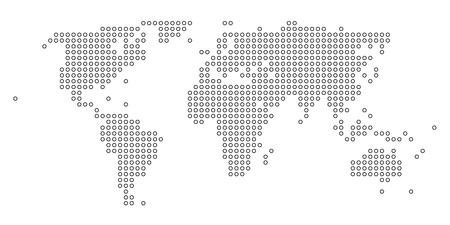 Stylized dotted black and white world map Vector