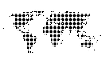 Stylish polka dotted black and white map of the world Illustration