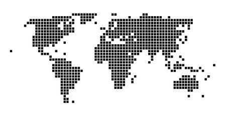 Stylized squared black and white world map Stock Vector - 8738366