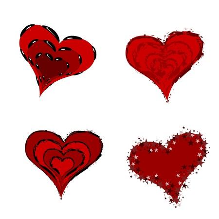 burning heart: Stylised red hearts with decorative borders isolated on white Illustration