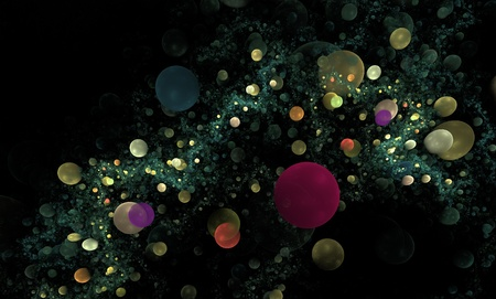 Colorful circular bubbles fractal background on black Stock Photo - 8927755