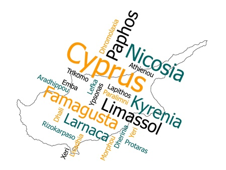 cyprus: Cyprus map and words cloud with larger cities