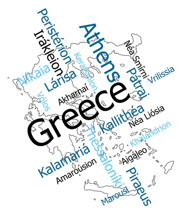 Greece map and words cloud with larger cities Vector