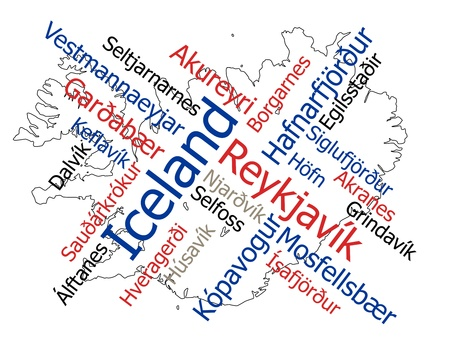 european cities: Iceland map and words cloud with larger cities