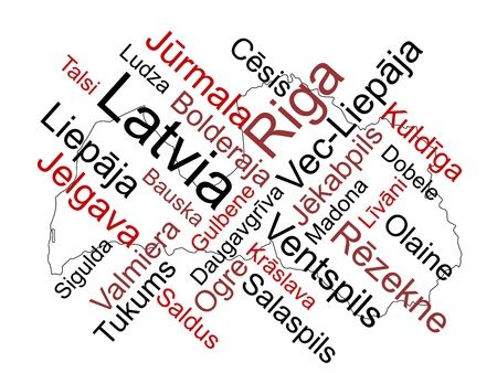Latvia map and words cloud with larger cities Vector