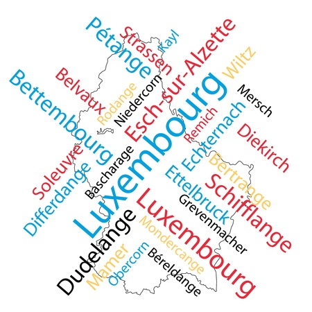 Luxembourg map and words cloud with larger cities Stock Vector - 8927779