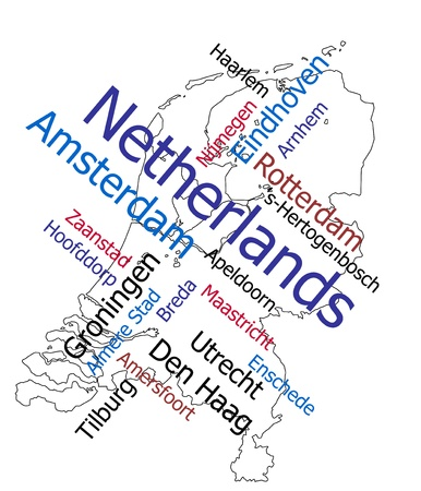 Netherlands map and words cloud with larger cities Vector