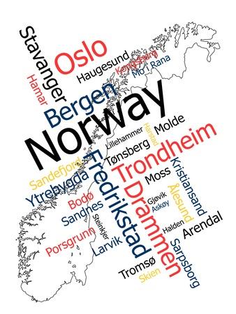 メトロポリス: 大きい都市ノルウェー マップと言葉雲