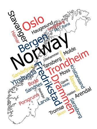 Norway map and words cloud with larger cities Vector