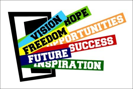esperanza: Ilustraci�n de vector de puerta de casa abierta; oportunidades, nuevo comienzo, lanzamiento y conceptos de �xito y libertad