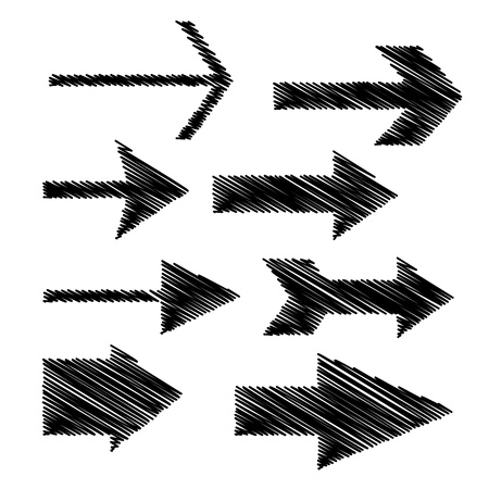 Black scribbled hand-drawn doodle arrows isolated on the white background