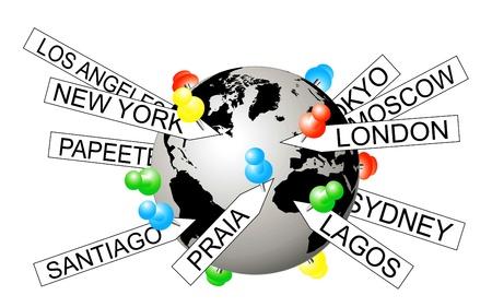 metadata: Vector illustration of city tags on the globe depicting geotagging Illustration