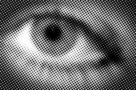 Halftone closeup illustration of one open eye illustration