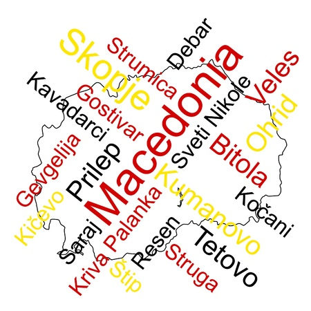 Macedonia map and words cloud with larger cities Stock Vector - 9508206