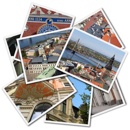 Postcards of Riga, Latvia, isolated on the white background. All images created by maigi.