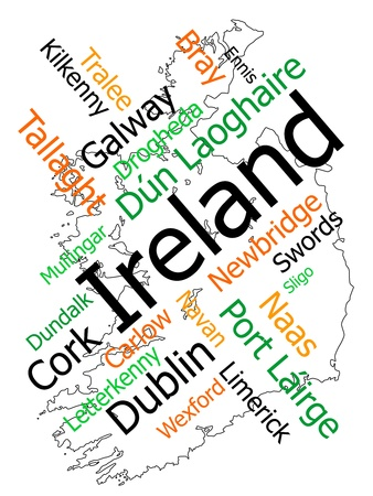 european cities: Ireland map and words cloud with larger cities