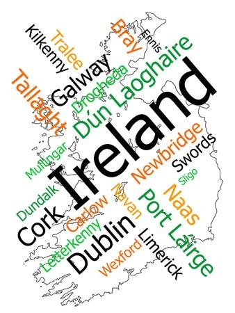 mapas conceptuales: Nube de palabras y mapa de Irlanda con grandes ciudades Vectores