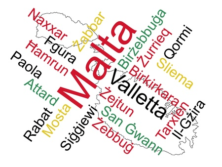 Malta: Malta map and words cloud with larger cities Illustration