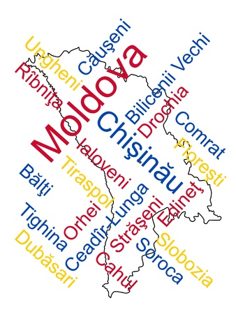moldovan: Moldova map and words cloud with larger cities
