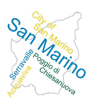 San Marino map and words cloud with larger cities Vector