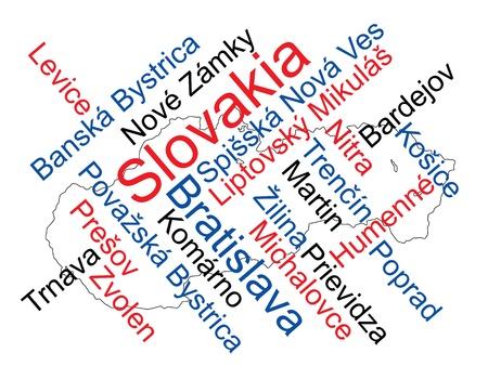 メトロポリス: 大きい都市とスロバキア マップと単語雲  イラスト・ベクター素材