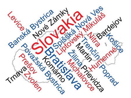 slovakian: Slovakia map and words cloud with larger cities