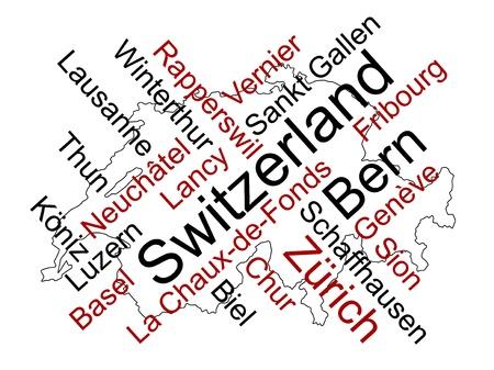 メトロポリス: 大都市とのスイス連邦共和国地図と単語雲