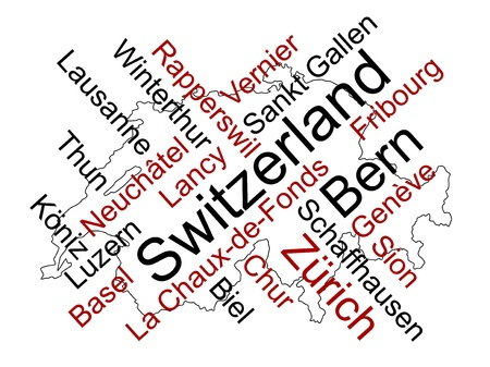 european cities: Switzerland map and words cloud with larger cities