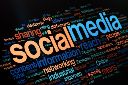 Collection of social media and networking related words on the black background photo