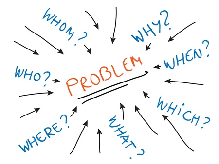 Attacking problems, problem solving techniques, asking questions Illustration