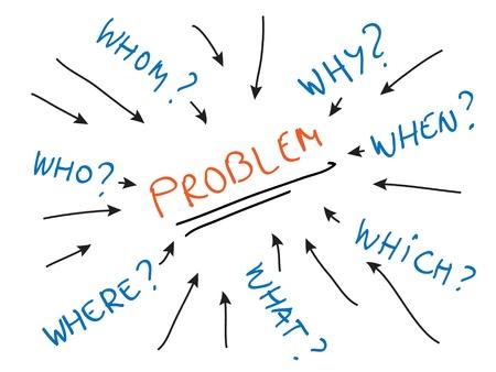 resoudre probleme: Probl�mes attaquantes, r�solution de probl�mes techniques, de poser des questions Illustration