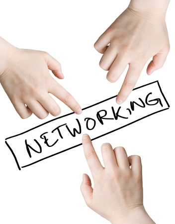 Illustration of three hands pointing to the networking sign isolated on the white background illustration