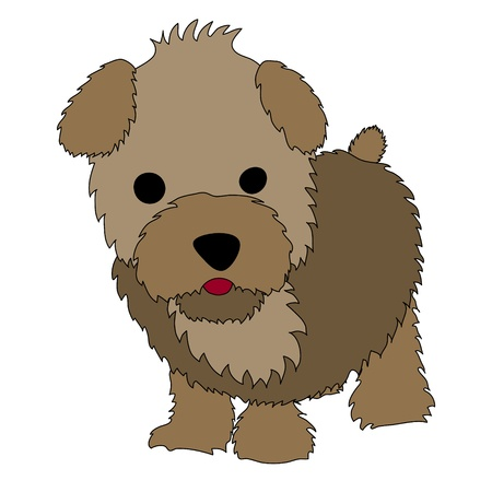 Cute brown cartoon puppy standing on the white background Stock Vector - 10312745