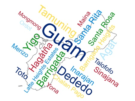 guam: Guam map and words cloud with larger cities