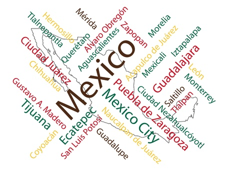 map of mexico: Mexico map and words cloud with larger cities