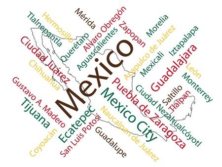 mexiko karte: Mexiko-Karte und W�rter Wolke mit gr��eren St�dten