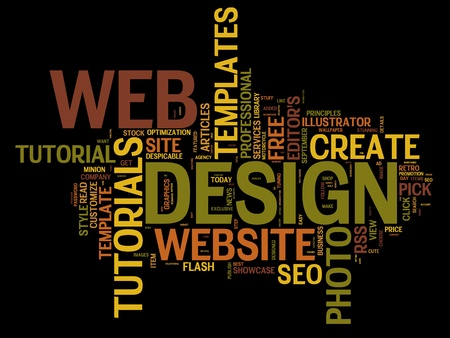 Word cloud with webdesign and website creation related words